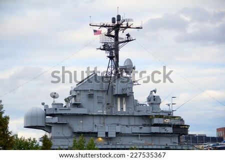 Frament of the eqipment of the US Navy battle ship - stock photo