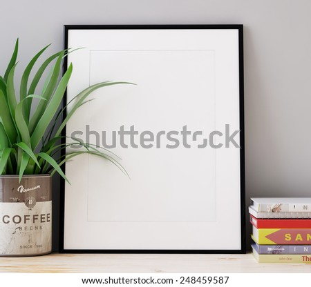 Frames and books. 3D rendering - stock photo