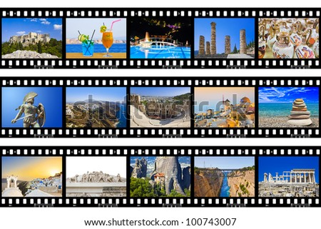 Frames of film - Greece nature and travel (my photos) isolated on white background - stock photo