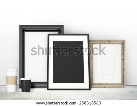 Frames on the table - stock photo