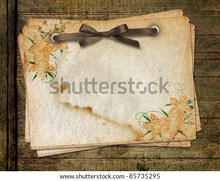 Framework for a photo or congratulation. Grange wooden background. - stock photo