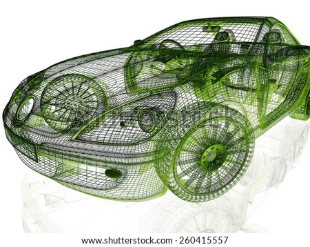 Framework of Model Car on White Background - stock photo