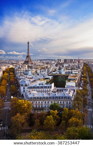 France: aerial view of Paris skyline; Eiffel Tower (Tour Eiffel) on background. - stock photo