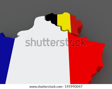 France and Belgium. map. 3d - stock photo