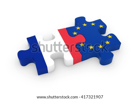 France and EU Puzzle Pieces - French and European Flag Jigsaw 3D Illustration - stock photo