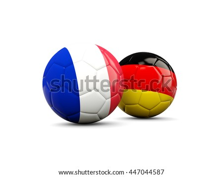France and Germany soccer balls isolated on white. 3D illustration - stock photo