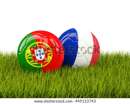 France and Portugal soccer  balls on grass. 3D illustration - stock photo