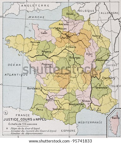 France Appellate Court old map. By Paul Vidal de Lablache, Atlas Classique, Librerie Colin, Paris, 1894 - stock photo