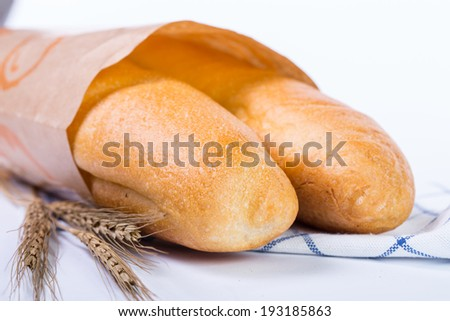 France baguette isolated with white background - stock photo