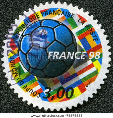 FRANCE - CIRCA 1998: A stamp printed by France, devoted World Cup Soccer Championships, circa 1998 - stock photo