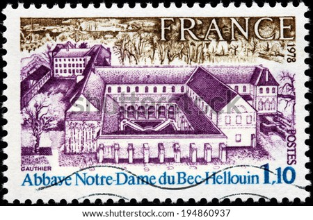 FRANCE - CIRCA 1978: A stamp printed by FRANCE shows Bec Abbey (Abbaye Notre-Dame du Bec) in Le Bec Hellouin, Normandy, France, circa 1978 - stock photo