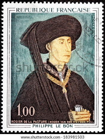 FRANCE - CIRCA 1969: A stamp printed by FRANCE shows engraving after painting portrait of Duke of Burgundy Philippe The Good by Flemish painter Rogier van der Weyden (Roger de la Pasture), circa 1969 - stock photo