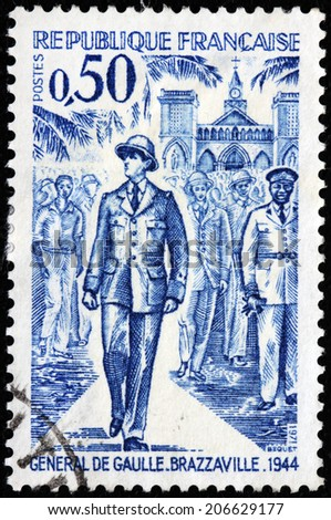 FRANCE - CIRCA 1971: A stamp printed by FRANCE shows general Charles de Gaulle in Brazzaville in 1944, circa 1971 - stock photo