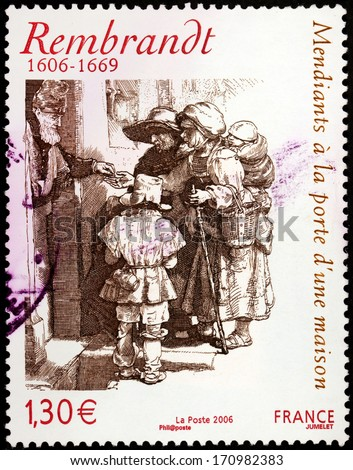 FRANCE - CIRCA 2006: A stamp printed by FRANCE shows image of  etching Beggars receiving alms at the door of a house by Dutch painter and etcher Rembrandt van Rijn, circa 2006 - stock photo