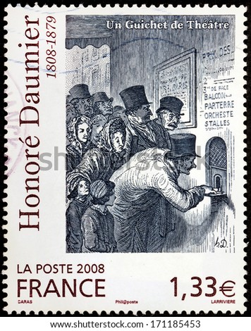 FRANCE - CIRCA 2008: A stamp printed by FRANCE shows image of picture The Ticket Window (Un guichet de theatre) by French printmaker, caricaturist and painter Honore Daumier, circa 2008 - stock photo