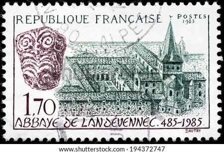 FRANCE - CIRCA 1985: A stamp printed by FRANCE shows Landevennec Abbey (Abbaye de Landevennec) - a monastery in Brittany, now in Finistere, France, circa 1985 - stock photo
