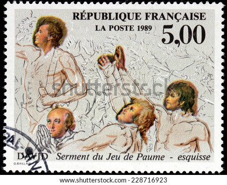 FRANCE - CIRCA 1989: A stamp printed by FRANCE shows Preliminary Sketch for Oath of the Tennis Court by an influential French painter in the Neoclassical style Jacques-Louis David, circa 1989 - stock photo