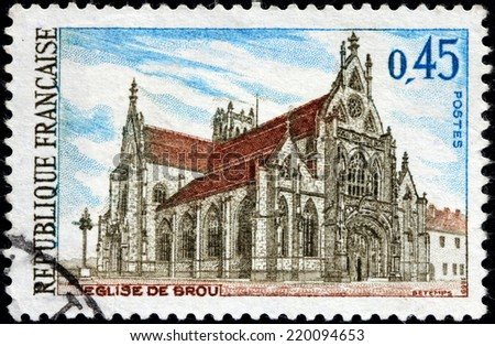FRANCE - CIRCA 1969: A stamp printed by FRANCE shows view of Brou Church, Bourg-en-Bresse,  the Ain department, the Rhone-Alpes region, circa 1969 - stock photo
