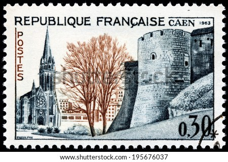 FRANCE - CIRCA 1963: A stamp printed by France shows view of Caen - commune in northwestern France. Caen is prefecture of Calvados department and the capital of the Basse-Normandie region, circa 1963 - stock photo