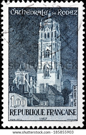 FRANCE - CIRCA 1967: A stamp printed by FRANCE shows view of  Roman Catholic Cathedral located in Rodez. Rodez is a town and commune in southern France, in the Aveyron department, circa 1967 - stock photo