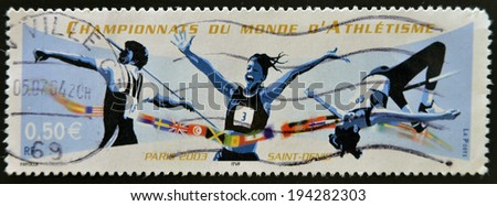 FRANCE - CIRCA 2003: A stamp printed in France dedicated to World Championship Athletics, circa 2003  - stock photo