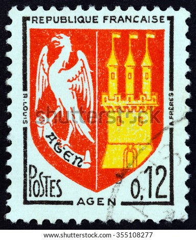 """FRANCE - CIRCA 1964: A stamp printed in France from the """"Arms of French Towns """" issue shows Agen coat of arms, circa 1964. - stock photo"""