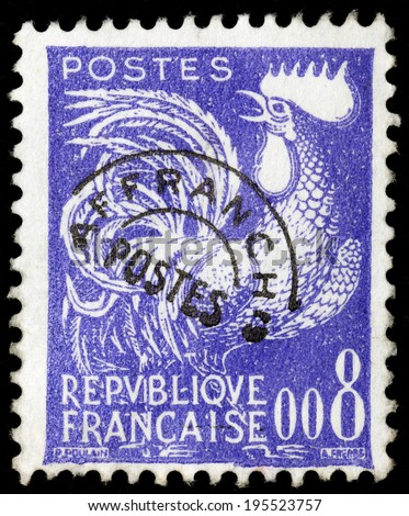 FRANCE - CIRCA 1957: A stamp printed in France shows a Gallic rooster (Coq gaulois) , symbol of France , circa 1957. - stock photo