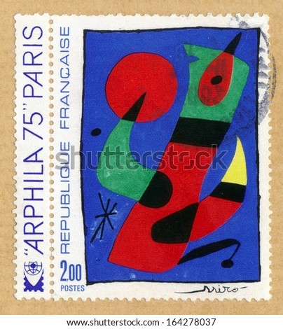 FRANCE - CIRCA 1974: a stamp printed in France shows an Juan Miro painting , circa 1974 - stock photo