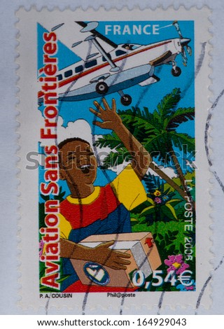 FRANCE - CIRCA 2006:A stamp printed in France shows aviation sans frontieres,circa 2006 - stock photo