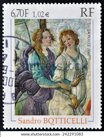 FRANCE - CIRCA 2000: A stamp printed in France shows Detail of Venus and The Three Graces by Italian painter of the Early Renaissance Sandro Botticelli, circa 2000  - stock photo