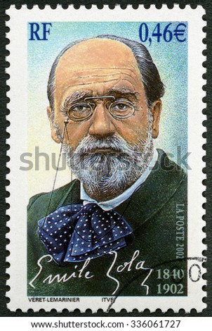 FRANCE - CIRCA 2002: A stamp printed in France shows Emile Edouard Charles Antoine Zola (1840-1902), circa 2002 - stock photo