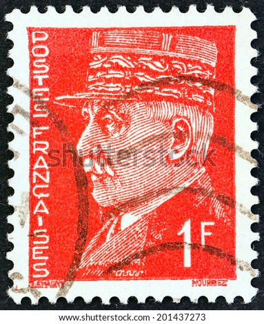 FRANCE - CIRCA 1941: A stamp printed in France shows Marshal Petain, circa 1941.  - stock photo
