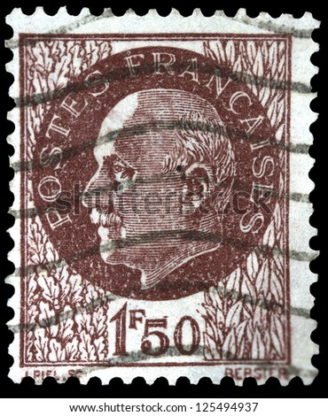"FRANCE - CIRCA 1941: A stamp printed in France shows portrait of Marshal Petain (hero of the Battle of Verdun in World War One), without inscription, from the series ""Marshal Petain"", circa 1941 - stock photo"