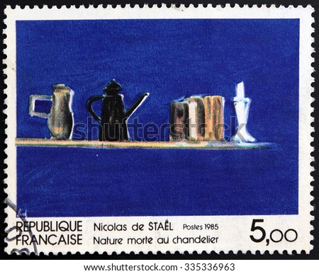 FRANCE - CIRCA 1985: A stamp printed in France shows Still Life with Candlestick  by Nicolas de Stael, circa 1985 - stock photo