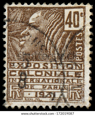 """FRANCE - CIRCA 1930: A stamp printed in France shows Woman of the Fachi tribe, with inscription and name of series """"International Colonial Exhibition in Paris, 1931"""", circa 1930 - stock photo"""
