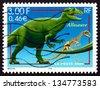 FRANCE - CIRCA 2000: a stamp printed in the France shows Allosaurus, Extinct Dinosaur, circa 2000 - stock photo