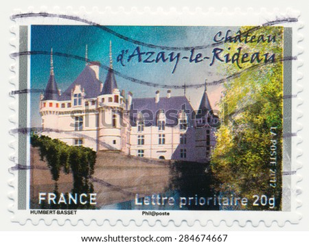 FRANCE - CIRCA 2012: a stamp printed in the France shows  Chateau Azay-le-Rideau,  circa 2012 - stock photo