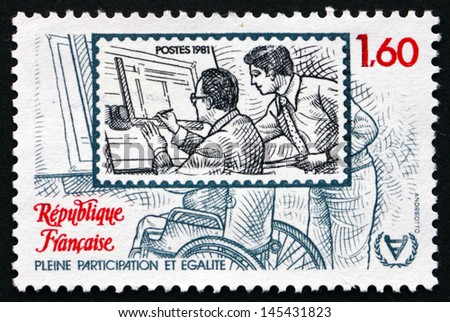 FRANCE - CIRCA 1981: a stamp printed in the France shows Disabled Man on Workplace, International Year of the Disabled, circa 1981 - stock photo