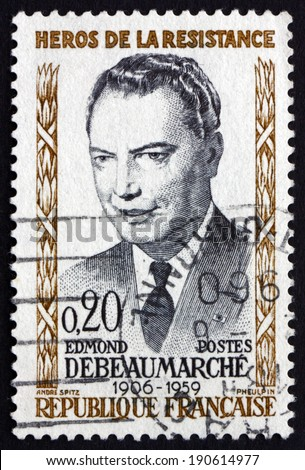 FRANCE - CIRCA 1960: a stamp printed in the France shows Edmund Debeaumarche, Hero of the French Underground in World War II, circa 1960 - stock photo