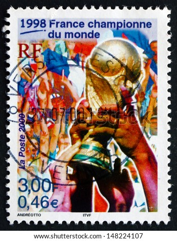 FRANCE - CIRCA 2000: a stamp printed in the France shows France as World Cup Soccer Champions, 1998, circa 2000 - stock photo
