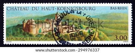 FRANCE - CIRCA 1999: a stamp printed in the France shows Haut-Koenigsbourg Castle, Bas-Rhin, Medieval Castle Located at Orschwiller, Alsace, in the Vosges Mountains, circa 1999 - stock photo