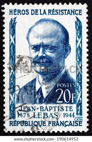 FRANCE - CIRCA 1957: a stamp printed in the France shows Jean-Baptiste Lebas, Politician, Resistance Leader during World War II, Captured by the Germans in 1941, circa 1957 - stock photo