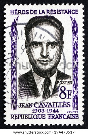 FRANCE - CIRCA 1958: a stamp printed in the France shows Jean Cavailles, French Philosopher and mathematician, Hero of the French Underground in World War II, circa 1958 - stock photo