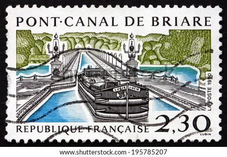 FRANCE - CIRCA 1990: a stamp printed in the France shows Pont Canal de Briare, Briare Aqueduct over the River Loire, circa 1990 - stock photo