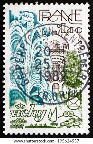 FRANCE - CIRCA 1981: a stamp printed in the France shows Public Gardens, Vichy, City in the Auvergne Region, circa 1981 - stock photo