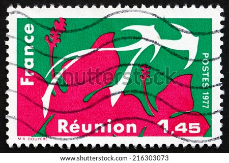 FRANCE - CIRCA 1977: a stamp printed in the France shows Reunion, Region of France, circa 1977 - stock photo