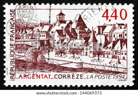 FRANCE - CIRCA 1994: a stamp printed in the France shows View of Argentat, Correze Department of the Limousin Region, circa 1994 - stock photo