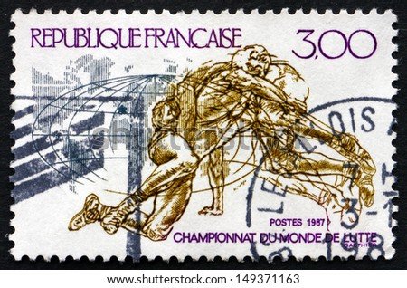 FRANCE - CIRCA 1987: a stamp printed in the France shows World Wrestling Championships, circa 1987 - stock photo