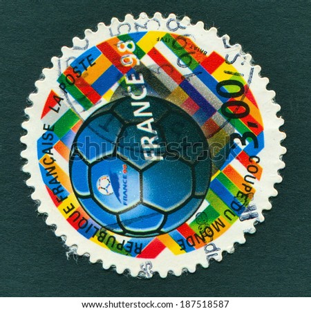 FRANCE, CIRCA 1998: FIFA WORLD CUP 1998 in France - a stamp showing a football, circa, 1998 - stock photo