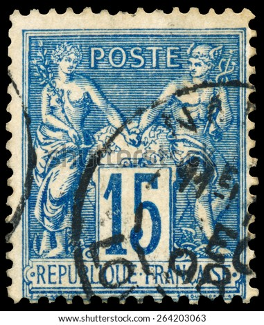 FRANCE - CIRCA 1877: Stamp printed in France shows Athena and Hermes, series Peace and Trade, circa 1877 - stock photo